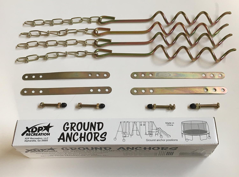 XDP Recreation Swing Set Trampoline /& Patio Furniture Metal Ground Anchor Kit