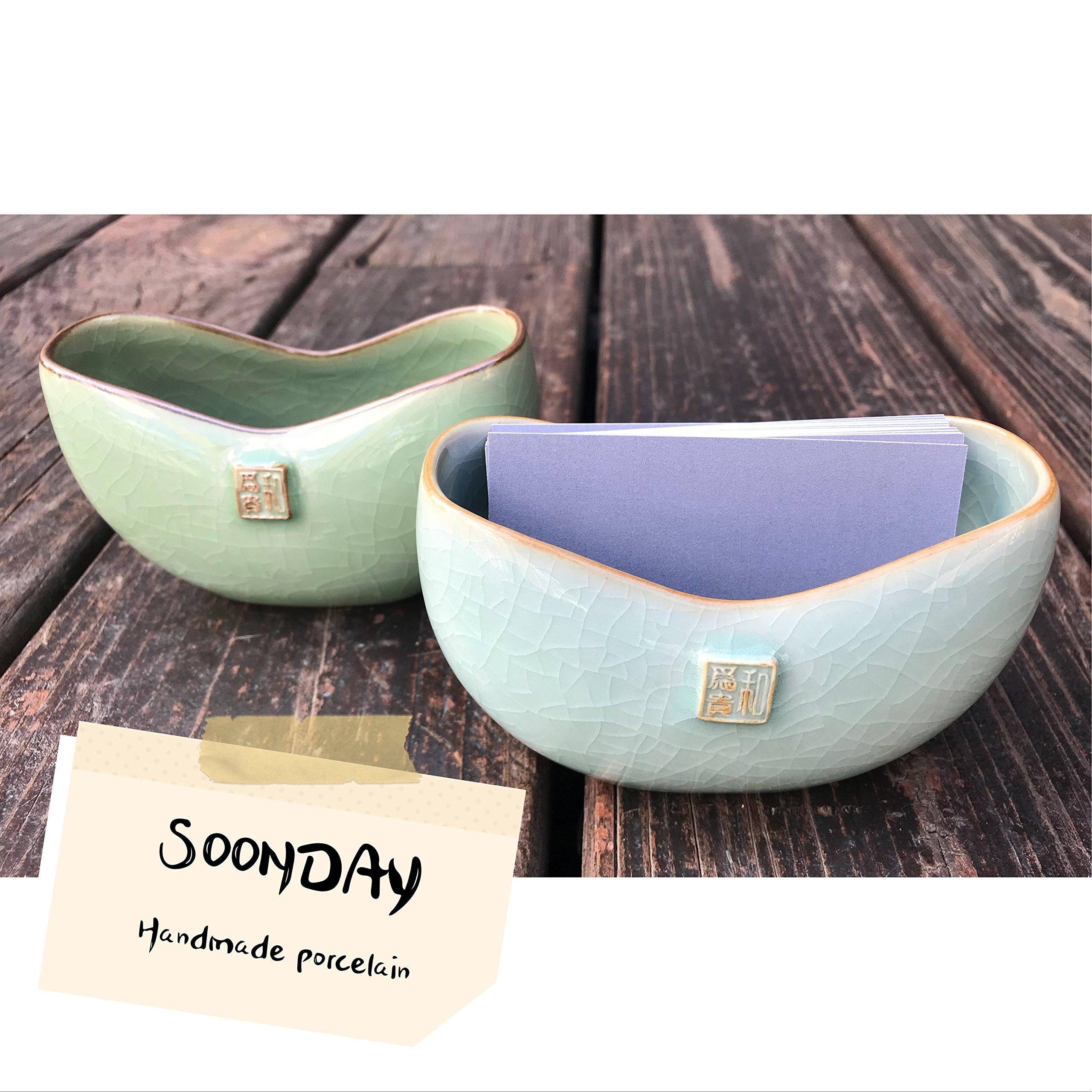 Desktop Business Card Holder | Ceramic Indoor Planter, Handmade Porcelain Container, Countertop Office Restaurant Home Decor 1 pc(Greenish Blue)