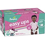 Pampers Easy Ups Training Pants Pull On Disposable Diapers Girls Underwear, Size 6 (4T-5T), 104 Count