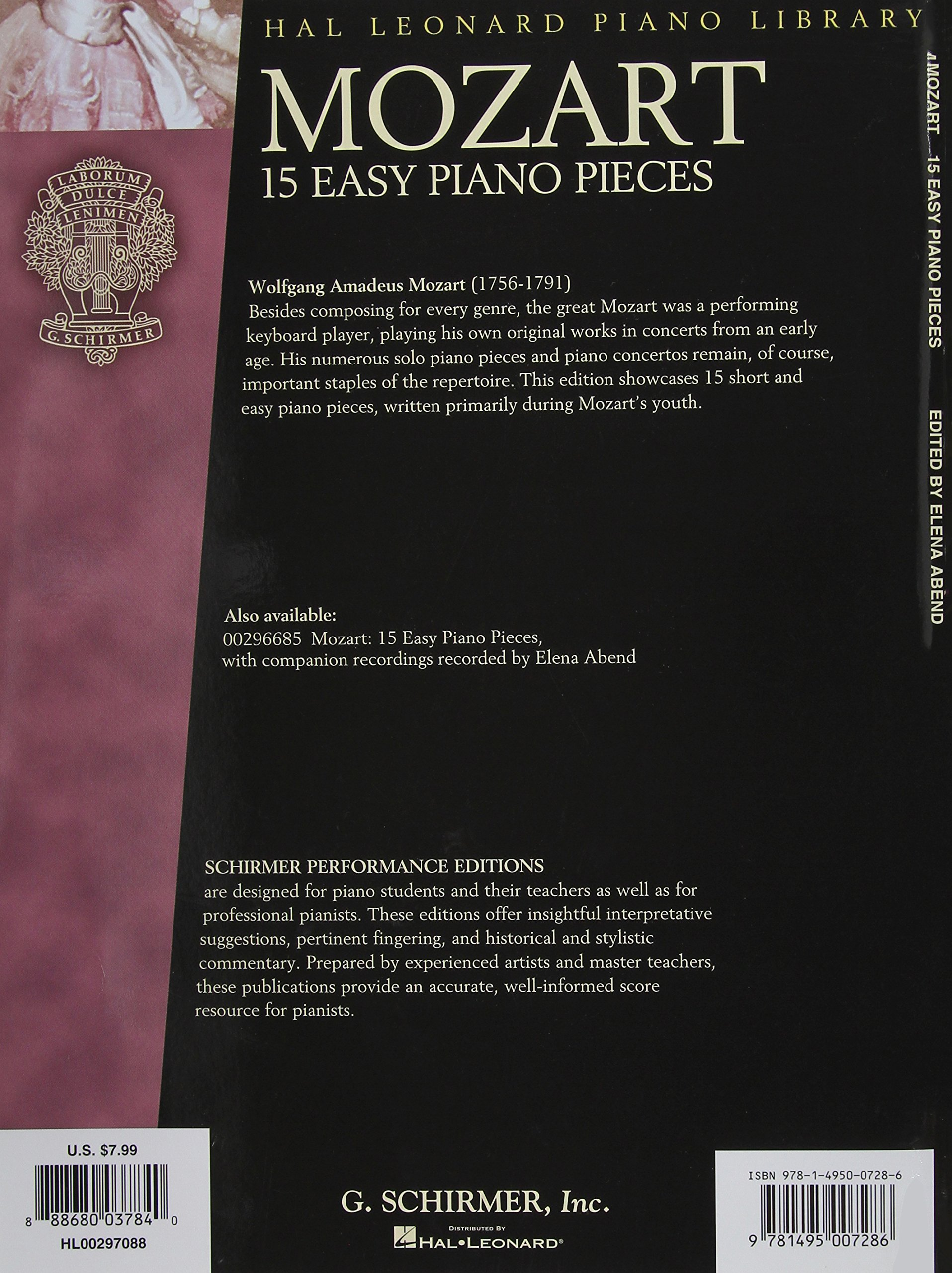 Elena Abend CD Inclus Mozart 15 Pièces Faciles