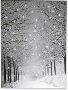 "Clever Creations Snowy Winter Path Light Up Poster Sparkling Canvas Wall Art with Bright LED Lighting | 15.75"" x 11.75"" Perfect Size for Home, Living Room, Office or Classroom 