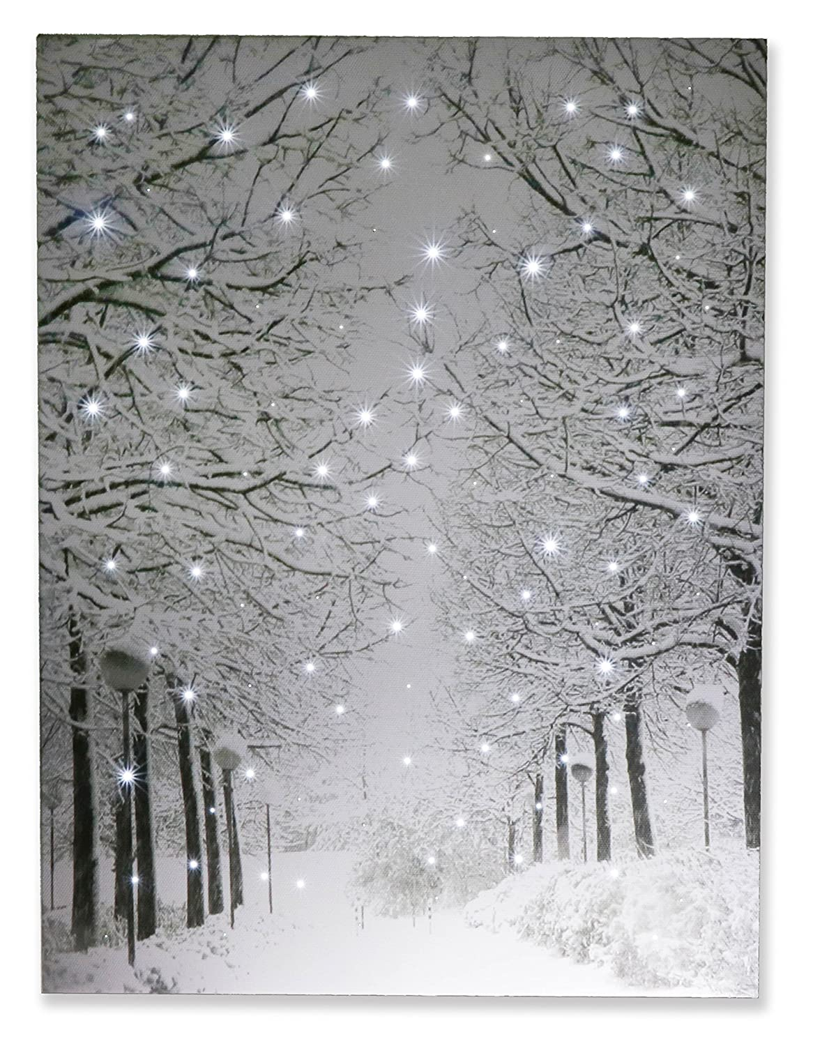 Clever Creations Snowy Winter Path Light Up Poster Sparkling Canvas Wall Art with Bright LED Lighting | 15.75 x 11.75 Perfect Size for Home, Living Room, Office or Classroom | Battery Powered