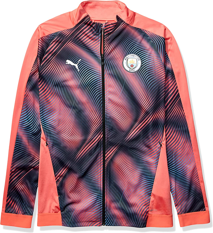 Manchester City Men/'s Football Contrast Full Zip Track Jacket Black New