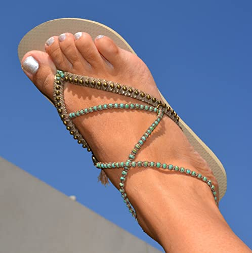 5d0b0f42afcc8 Amazon.com: Unique Women's Sandals, Boho Vegan Flat Turquoise Beaded ...