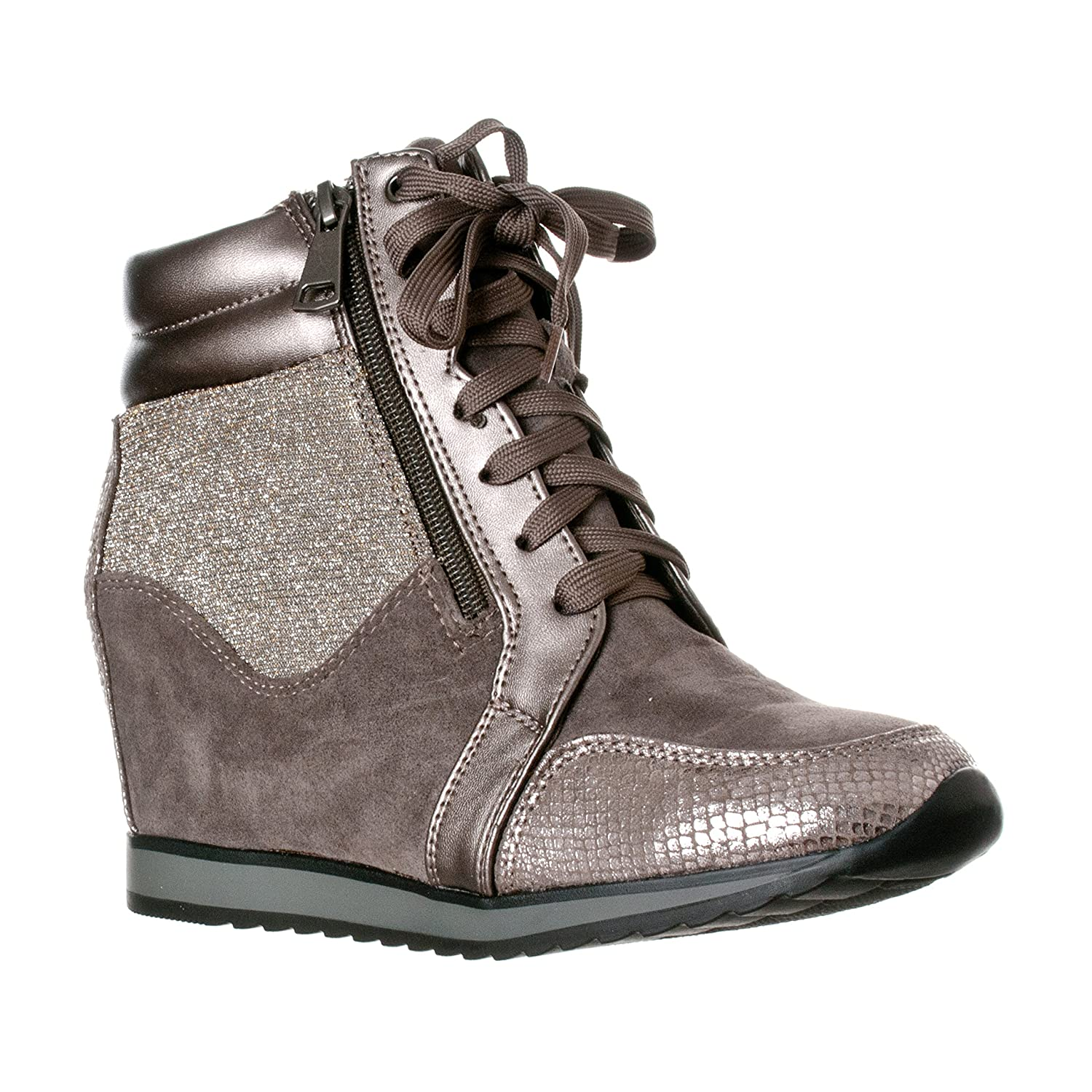 Forever Link Women's Shea-42 Fashion Wedge Sneakers B01DOBCLFS 8.5 B(M) US|Grey