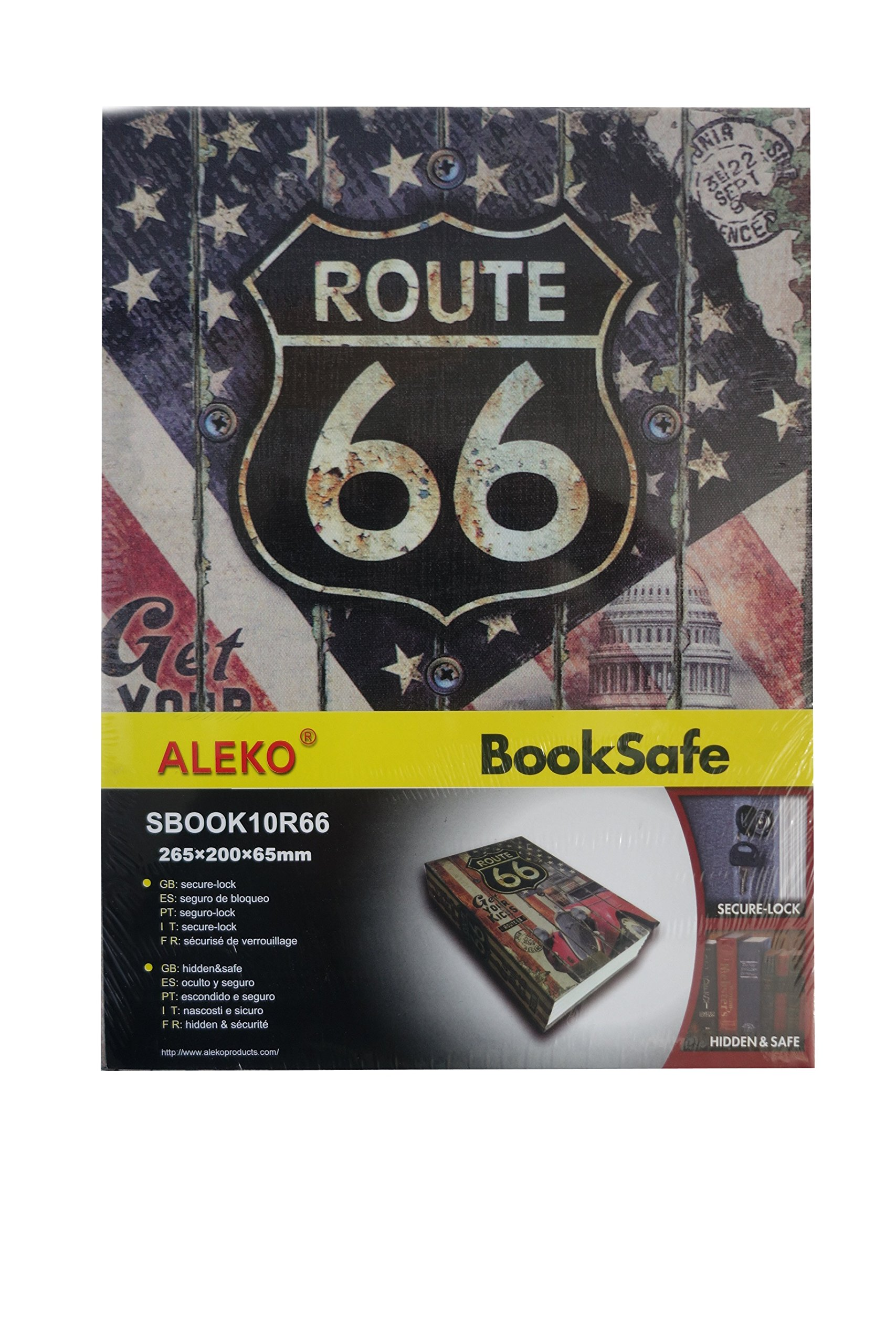ALEKO Diversion Book Safe with Key Lock for Home, Business ROUTE 66 (265X200X65)