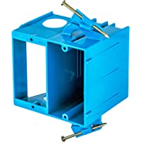 """Bryant Electric RR1500 Thermoplastic Recessed 2-Gang Plastic Nail on Box, 4.04"""" x 3.69"""" x 3.67"""", Blue"""