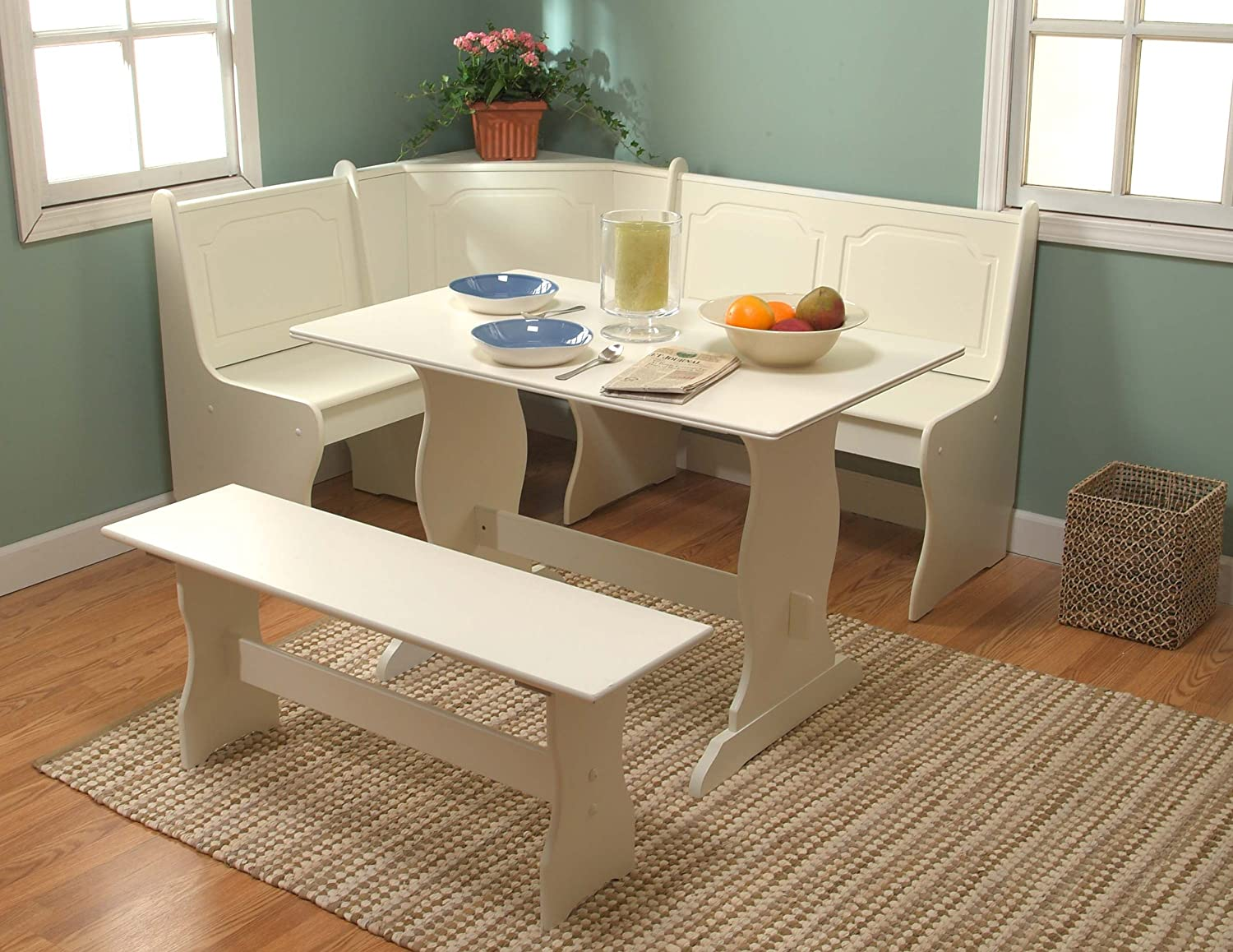 Amazon Target Marketing Systems 3 Piece Breakfast Nook Dining Set With A L Shaped Storage Bench And Trestle Style Table