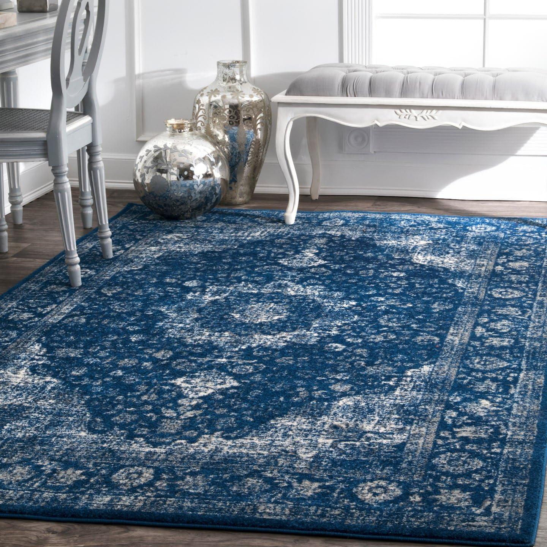 nuLOOM Persian Verona Distressed Large Area Rug, 9 x 12 , Dark Blue