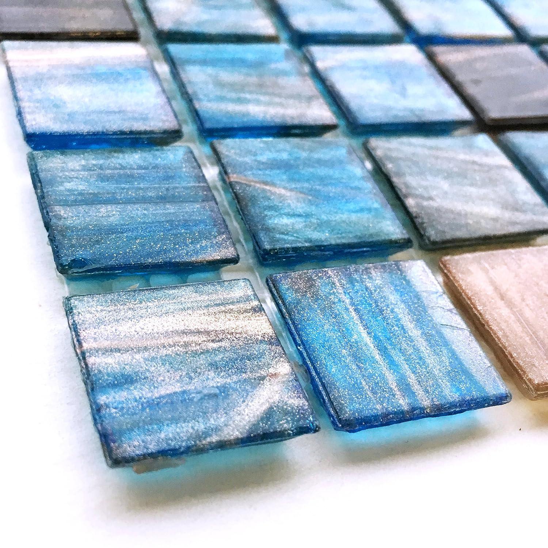 Blue Sapphire Copper Blend Iridescent Glass Backsplash Mesh-Mounted ...