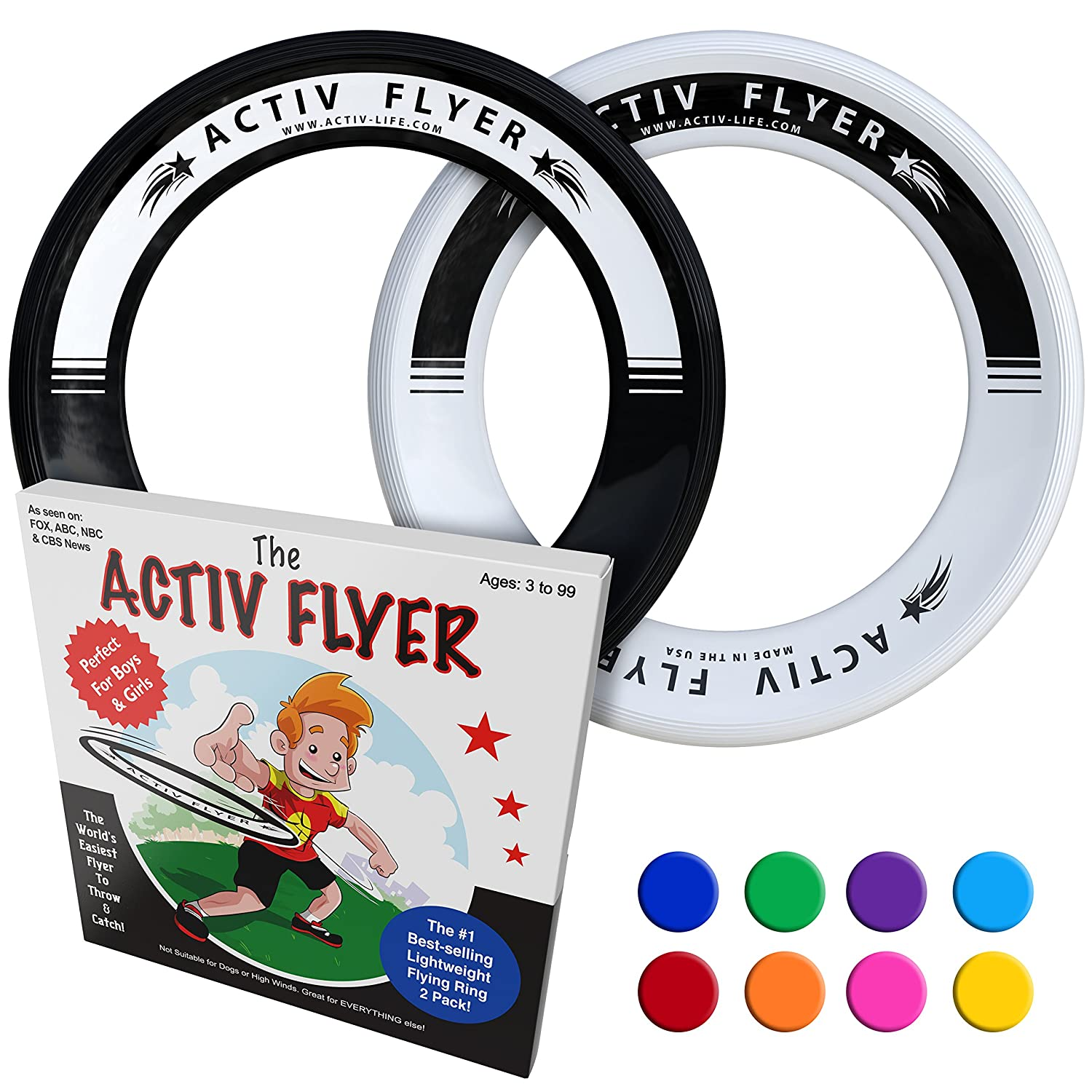 c32761c535de Activ Life Best Kid s Flying Rings  2 Pack  Fly Straight   Don t Hurt - 80%  Lighter Than Standard Flying Discs - Replace Screen Time with Healthy  Family Fun ...