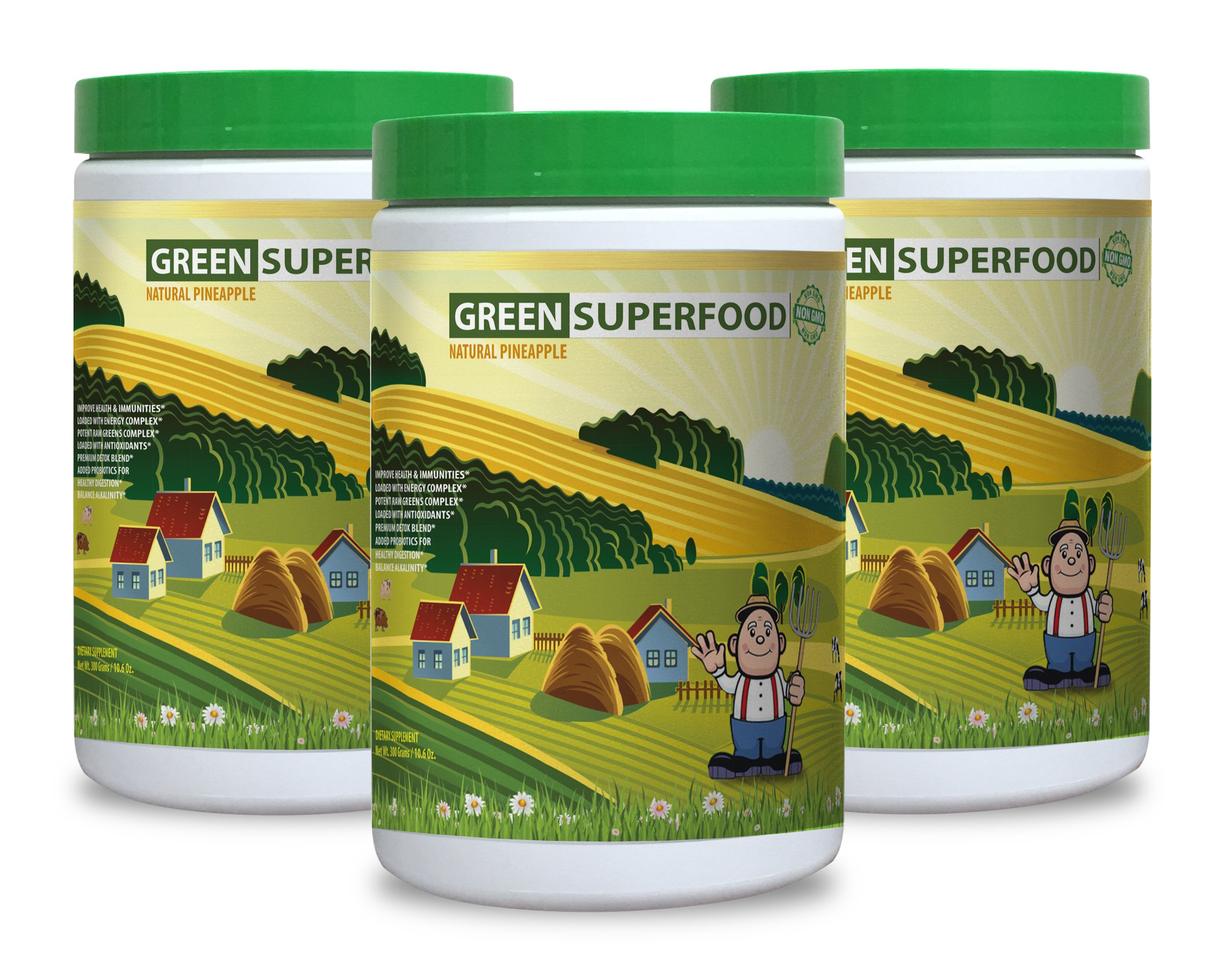 Green tea extract supplement - GREENS SUPERFOOD POWDER WITH NATURAL PINEAPPLE FLAVOR 300G - regulate digestive system (3 Bottles)