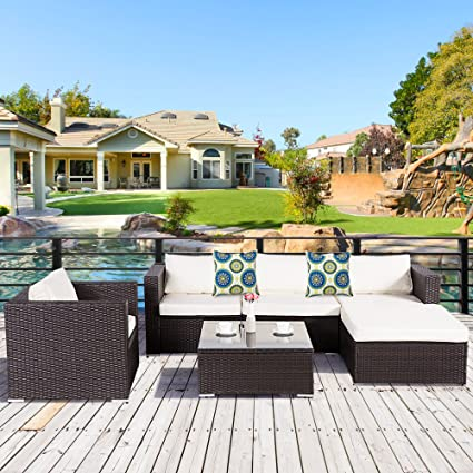 Cloud Mountain 6 Piece Wicker Furniture Set Outdoor Patio Garden Lawn Furniture  Set PE Rattan Sectional