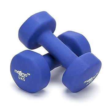 Maximo Fitness Mancuernas de Neopreno (Par) - 2 x 5kg - Pesas de Mano