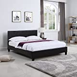 Classic Deluxe Bonded Leather Low Profile Platform Bed Frame with Paneled Headboard Design (Twin)