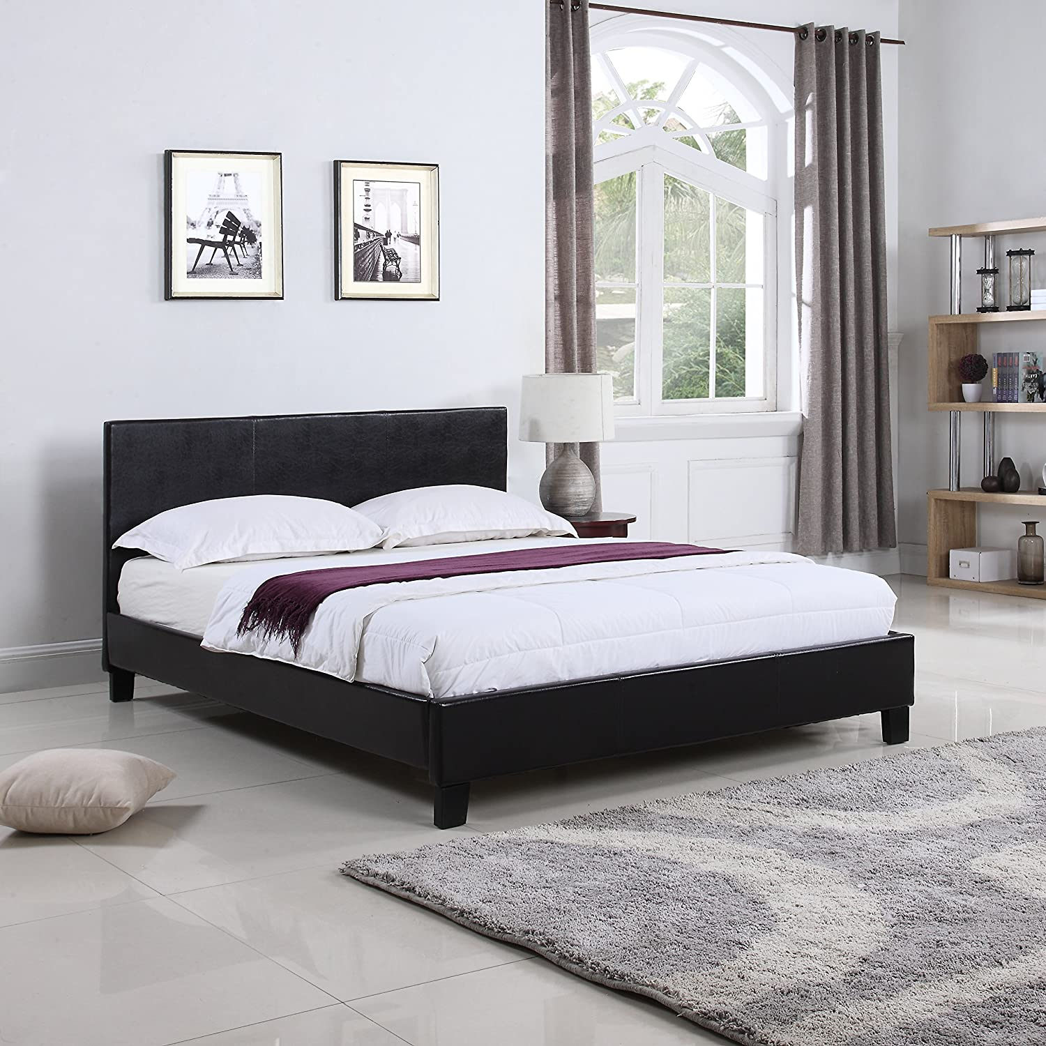 Divano Roma Furniture Classic Deluxe Bonded Leather Low Profile Platform Bed Frame with Paneled Headboard Design (Queen)