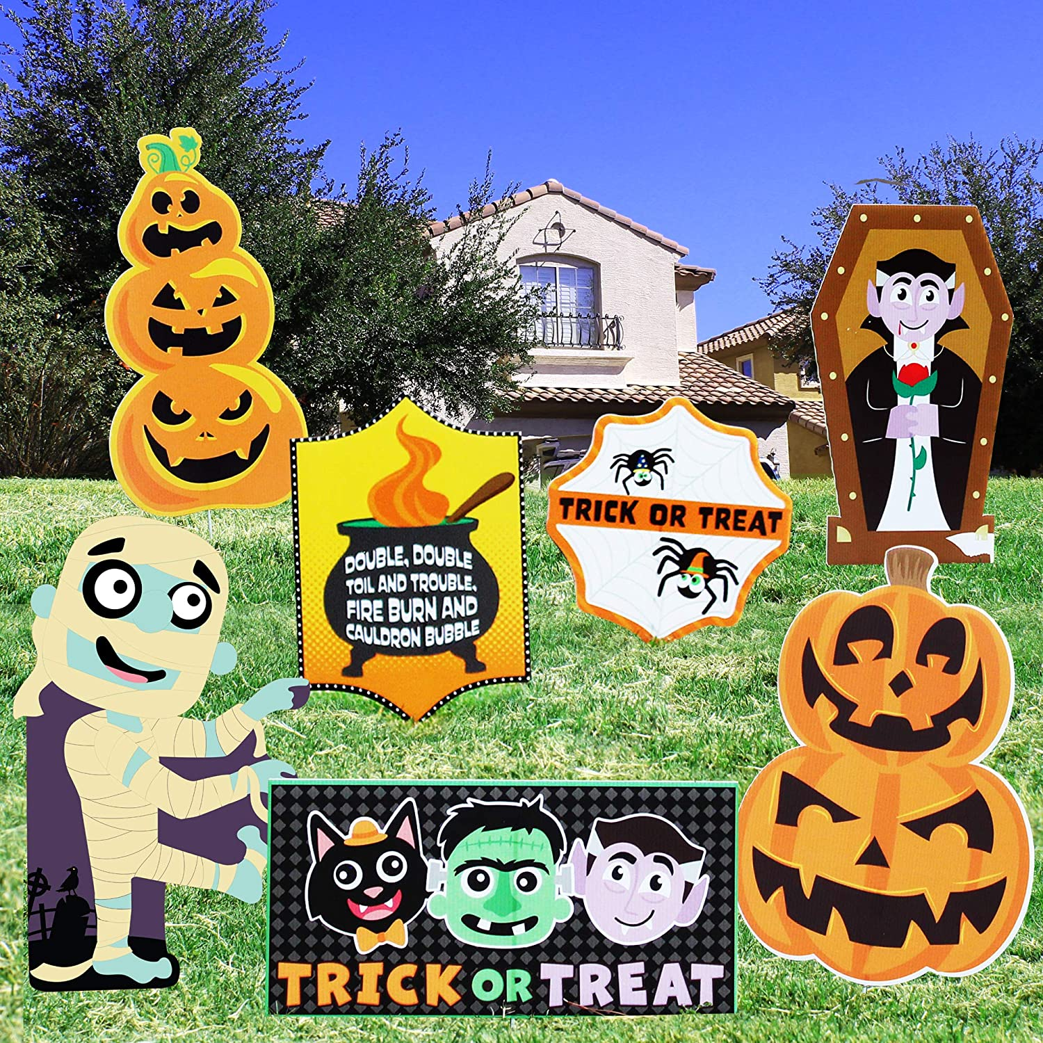 JOYIN Halloween Outdoor Decorations, Corrugate Yard Stake Signs for Lawn Yard Prop Decorations, Trick-or-Treating, Outdoor/Indoor Décor (7 Pieces)