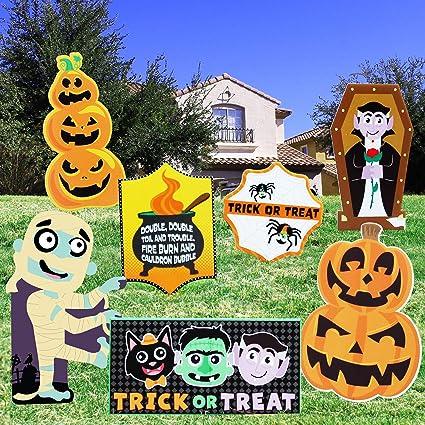 CCINEE 8pcs Halloween Yard Signs Scary Corrugate Yard Stake Signs for Halloween Lawn Yard Outdoor Decoration
