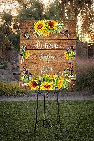 Amazon.com: Dozili - Señal de boda rústica con diseño de ...