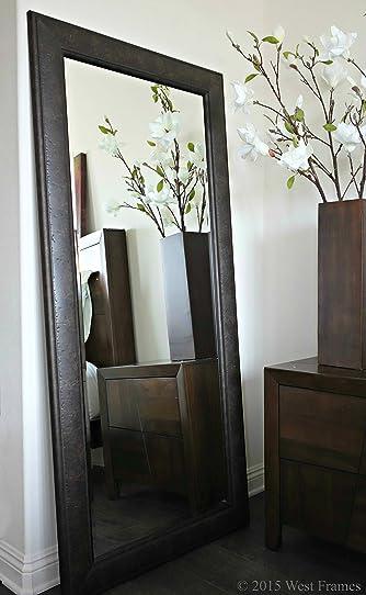 West Frames Marcello Rustic Framed Leaner Full Length Floor Mirror (Dark Charcoal Brown)