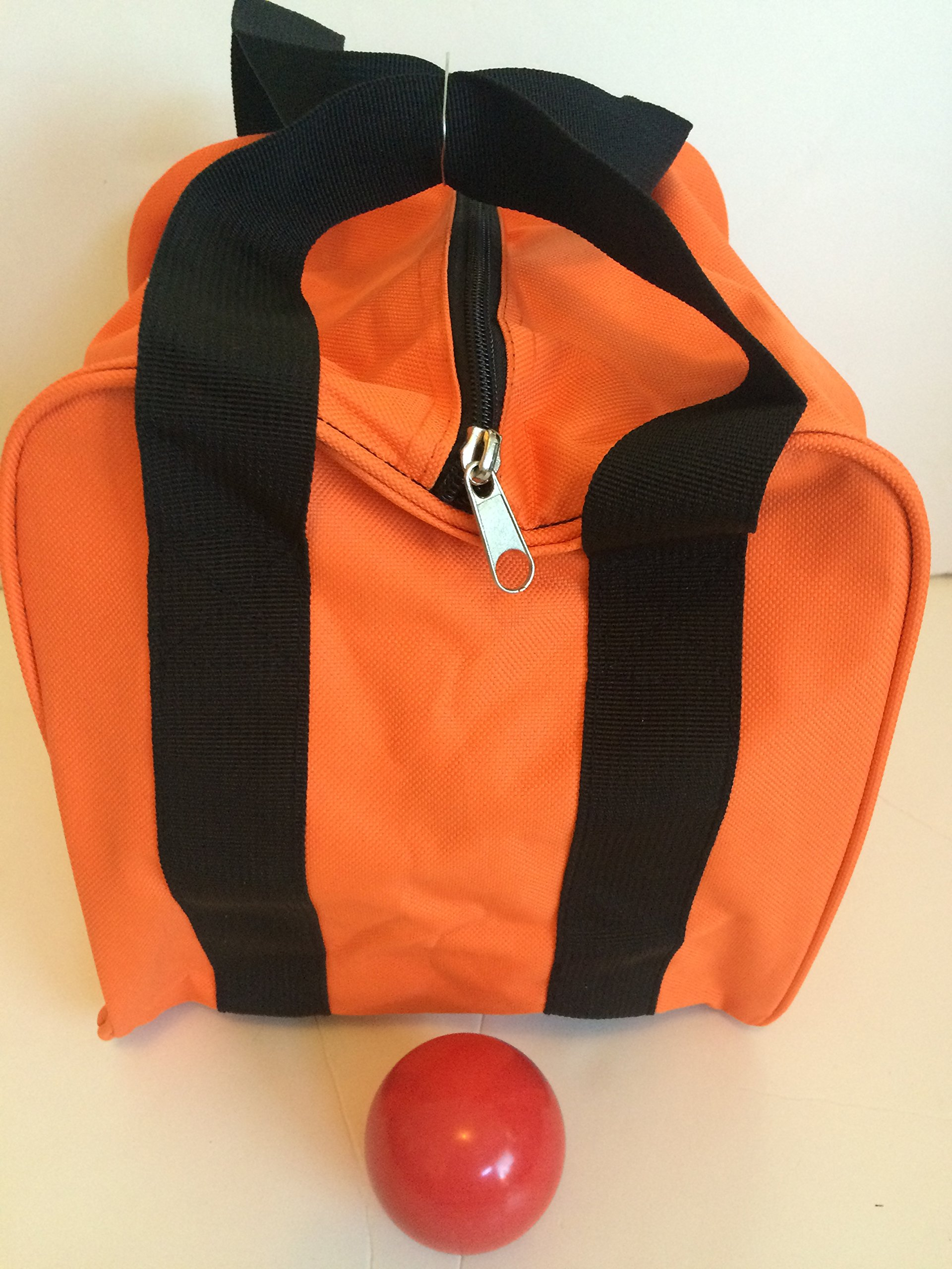 Unique Bocce Accessories Package - Extra Heavy Duty Nylon Bocce Bag (Orange with Black Handles) and Red pallina