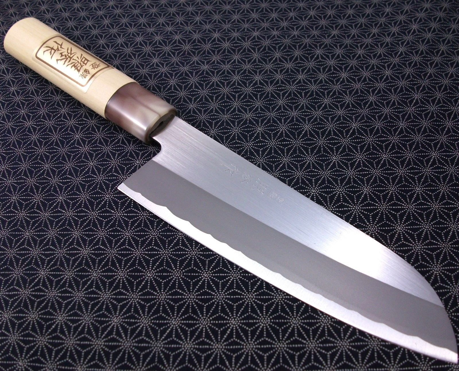 Japanese Santoku Kitchen Knife TERUHIDE Wooden Handle Carbon Steel Made in Japan by NEW (Image #1)