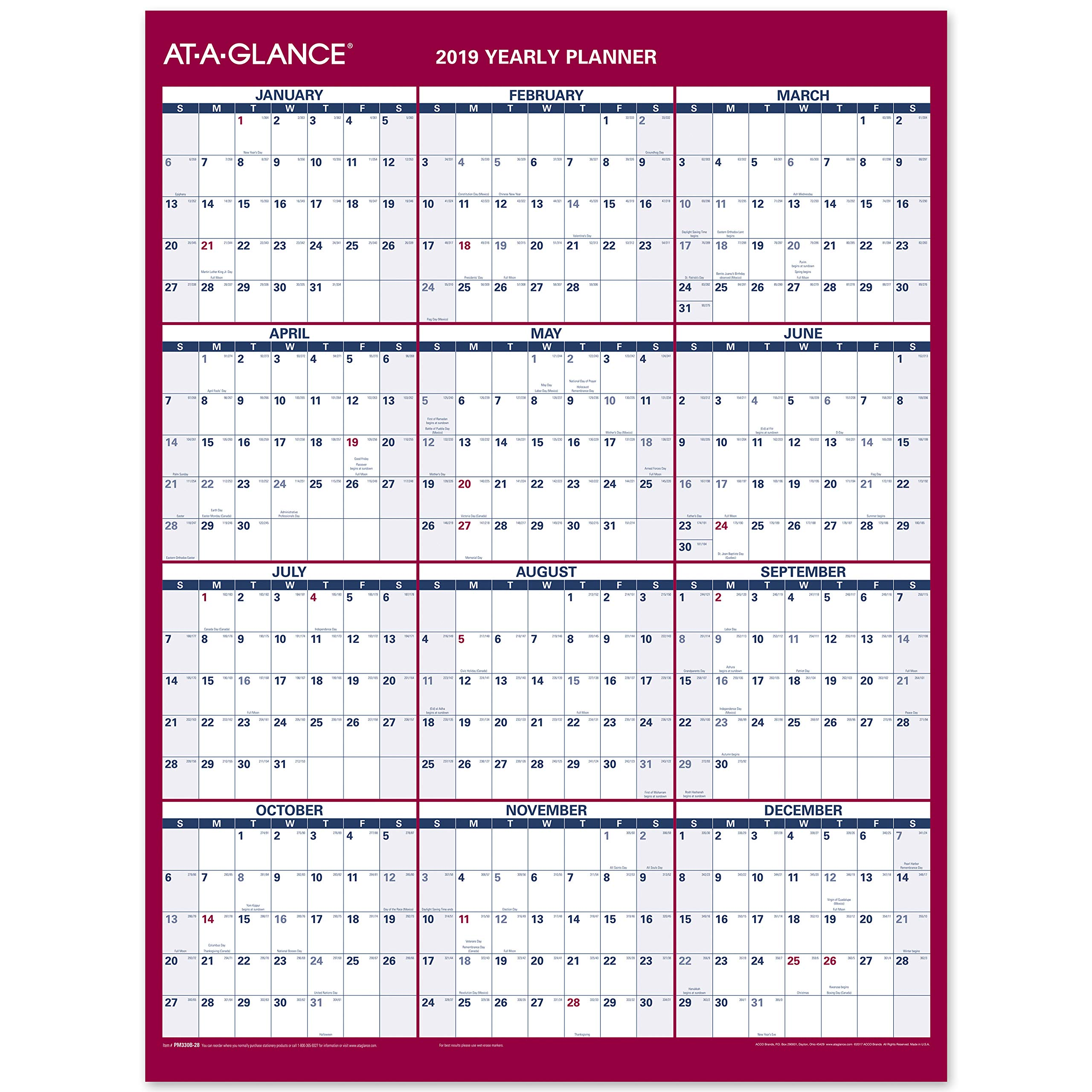 AT-A-GLANCE Yearly Wall Calendar, 12'' x 15-11/16'', 2-Sided, Vertical, Horizontal Erasable, Compact (PM330B28)