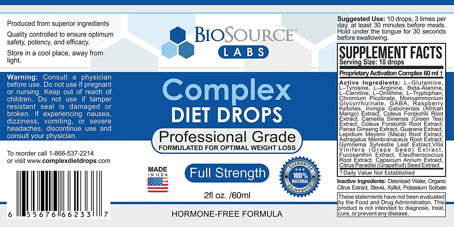 BioSource Labs Complex Diet Drops: Lean Weight Loss Drops for Rapid Weight  Loss| Slenderizing