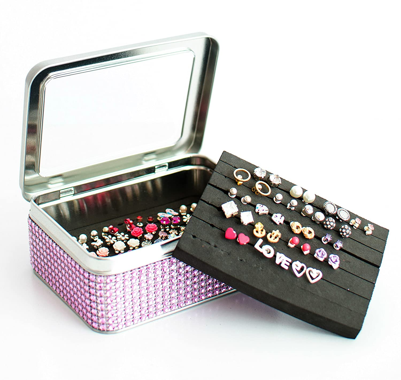 Tin Jewelry Box - Lt. Pink Dazzled Ribbon - Earring Holder - Extra Insert