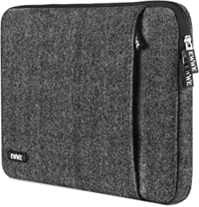 EWWE 360° Protective Laptop Sleeve Bag Case Cover Briefcase for 13-13.3 Inch Laptop, MacBook, Chromebook, Herringbone Woollen Spill & Shock Resistant with Outer Pocket for Laptop Accessories, Black
