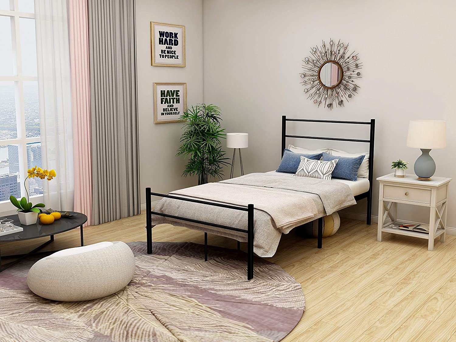 DUMEE Metal Bed Frame With Headboard and Footboard Steel Slat Support Single Size Black