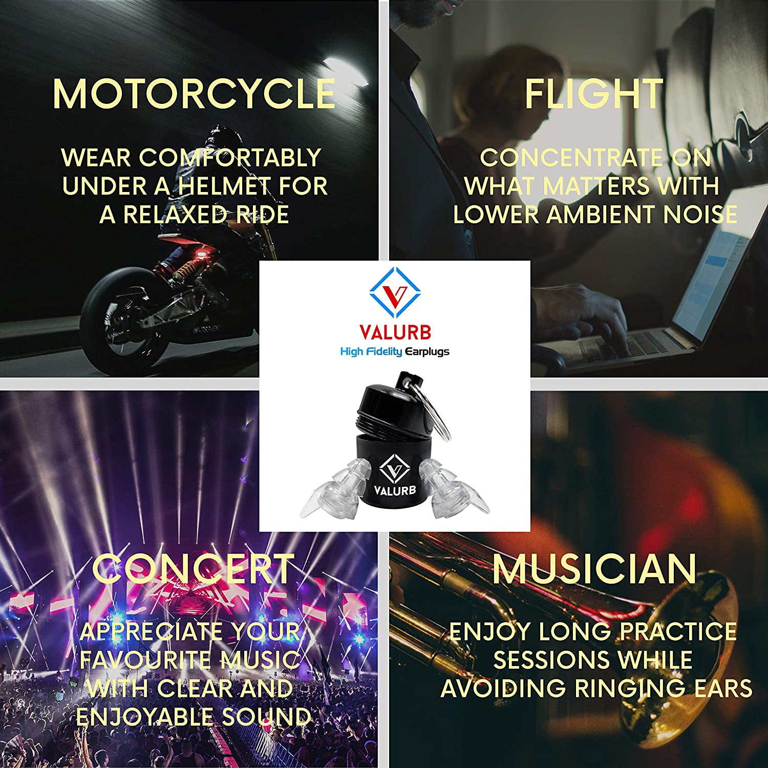 Valurb High Fidelity Noise Reduction Ear Plugs - Hearing Protection for  Music Motorcycle and Live