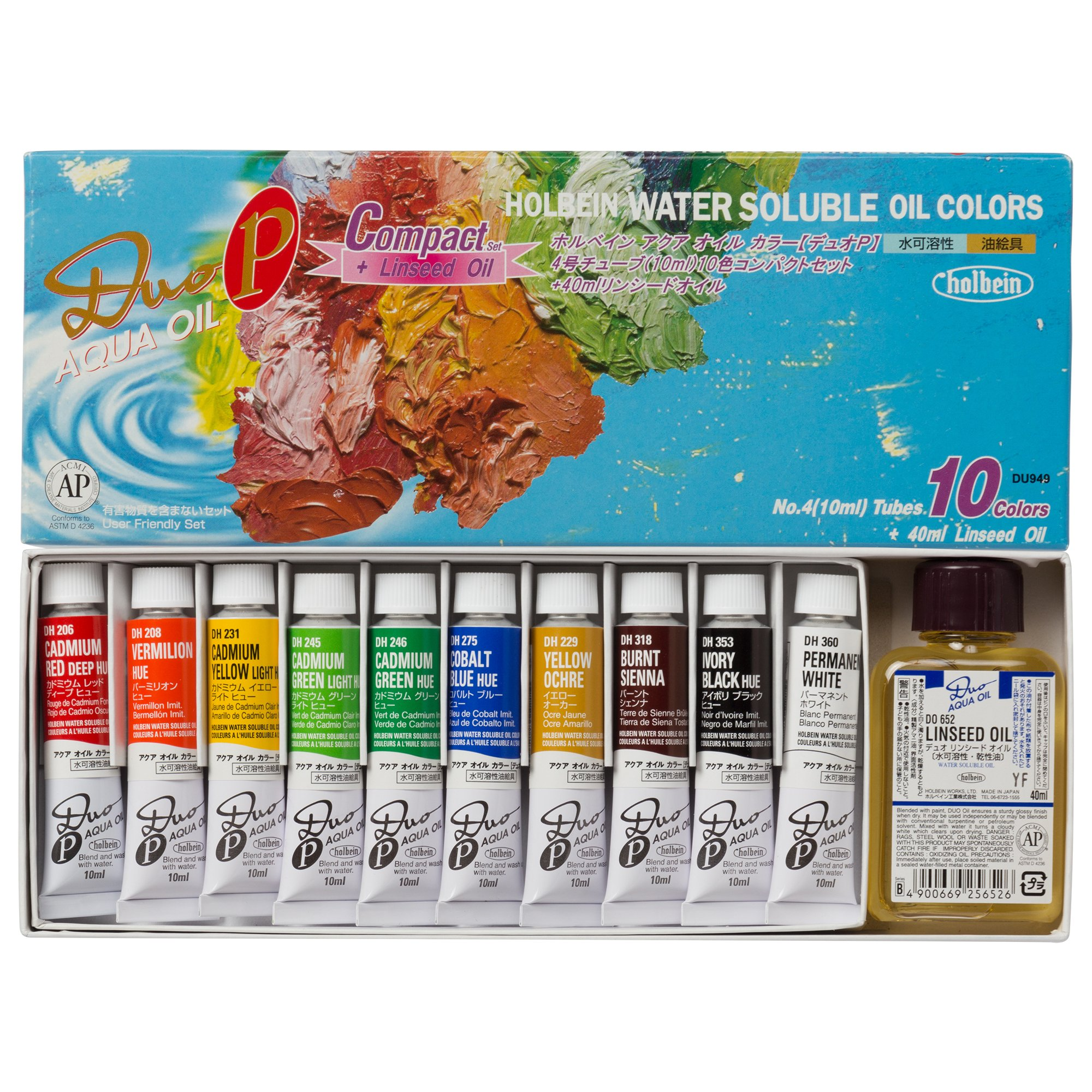 Holbein Duo Aqua Oil Compact Set of 10, 10ml tubes + 40ml Linseed Oil