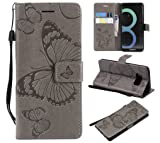 Amocase Wallet Leather Case with 2 in 1 Stylus for Samsung Galaxy S8,Premium Strap 3D Butterfly Magnetic PU Leather Stand Shockproof Card Slot Case for Samsung Galaxy S8 - Gray