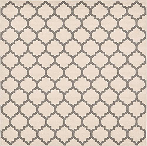 Unique Loom Trellis Collection Moroccan Lattice Beige Gray Square Rug 10 0 x 10 0