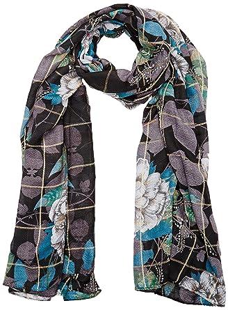 95bc3599ea1a4 Desigual Women's Printed 100% Polyester Foulard Troy, black, One Size