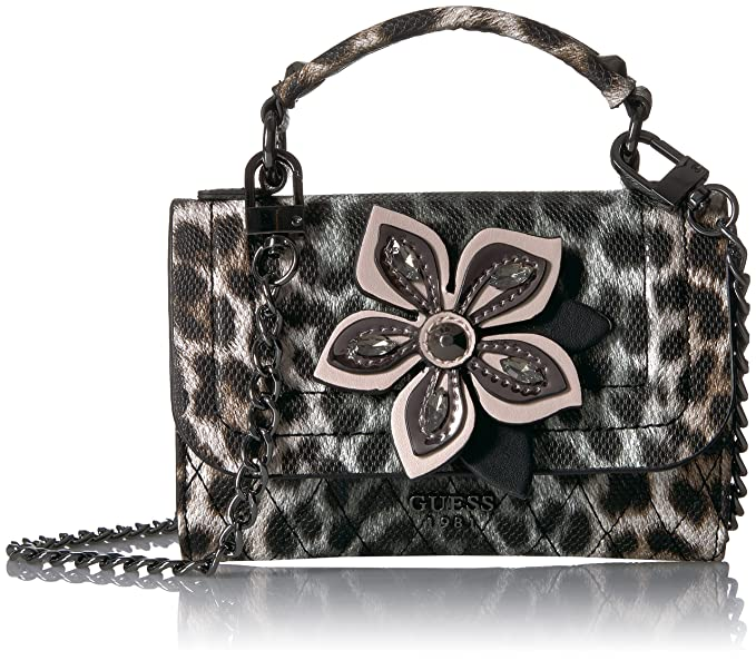 Amazon.com: Guess Sibila Leopard Mini Crossbody Flap, negro ...