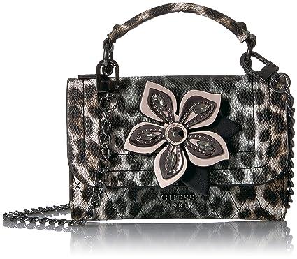 2a8752591b45 GUESS Sibyl Leopard Mini Crossbody Flap  Handbags  Amazon.com