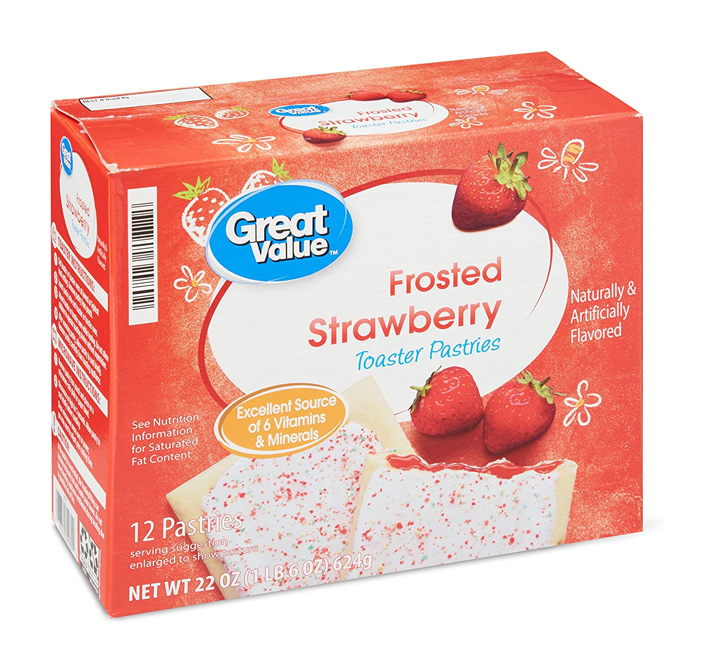 Great Value Frosted Toaster Pastries, 22 oz, 12 Count (Frosted Strawberry)