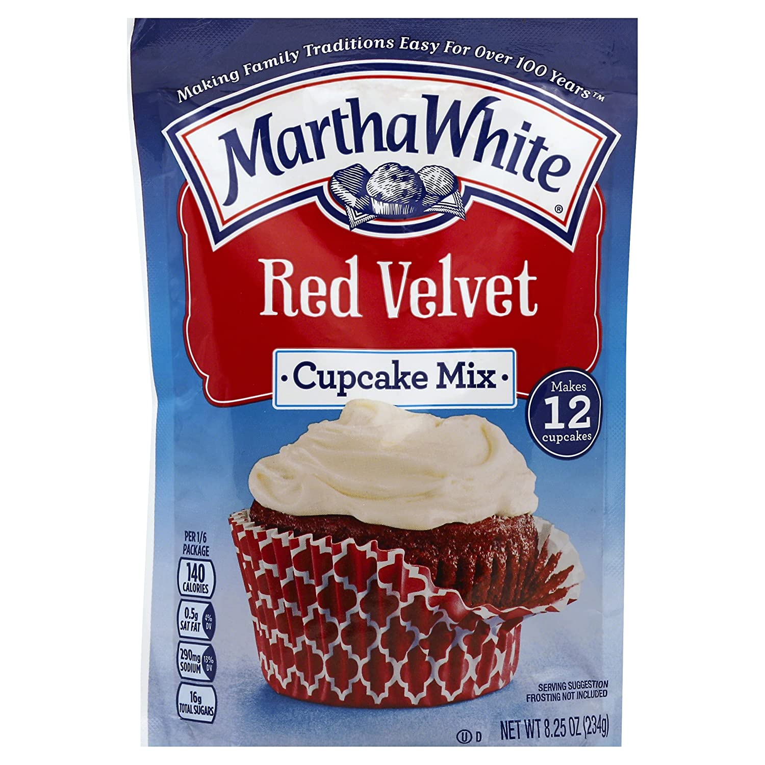 Amazoncom Martha White Cupcake Mix Red Velvet 825 Ounce Pack