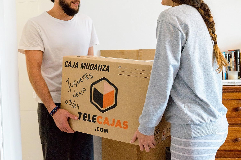 (10x) Cajas para Mudanza | Caja de Cartón TeleCajas | Onda Doble Reforzada, con Asas | 50x35x35 cms | Pack de 10 unidades