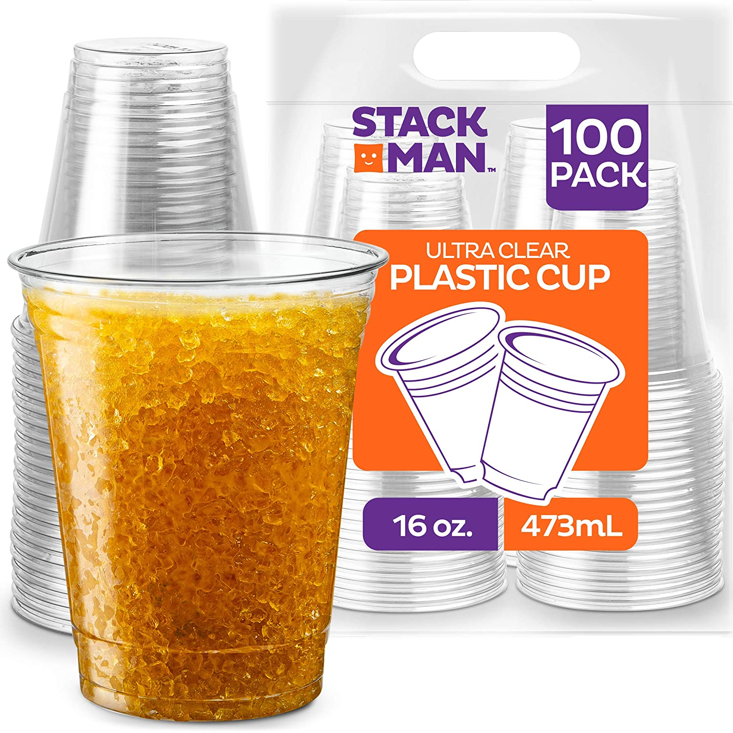 Stack Man [100 Pack - 16 oz.] Clear Disposable Plastic Cups PET Crystal Clear Disposable 16oz Plastic Cups