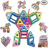 AMOSTING Magnet Building Tiles, Magnetic 3D Building Blocks Set for Kids, Magnetic Educational Stacking Blocks Boys Girls Toys, 64 Piece