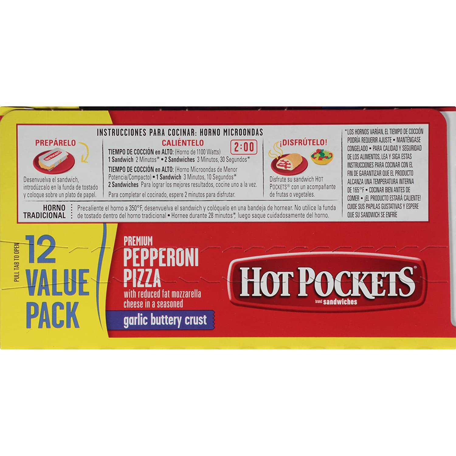 Hot Pockets, Crispy Crust Pepperoni Pizza, 12 sandwiches, 54 oz (Frozen): Amazon.com: Grocery & Gourmet Food