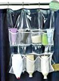 Bath Bliss Shower Curtain Mount Mesh Pocket Shower Caddy with 7 Pockets, Clear, 20x22