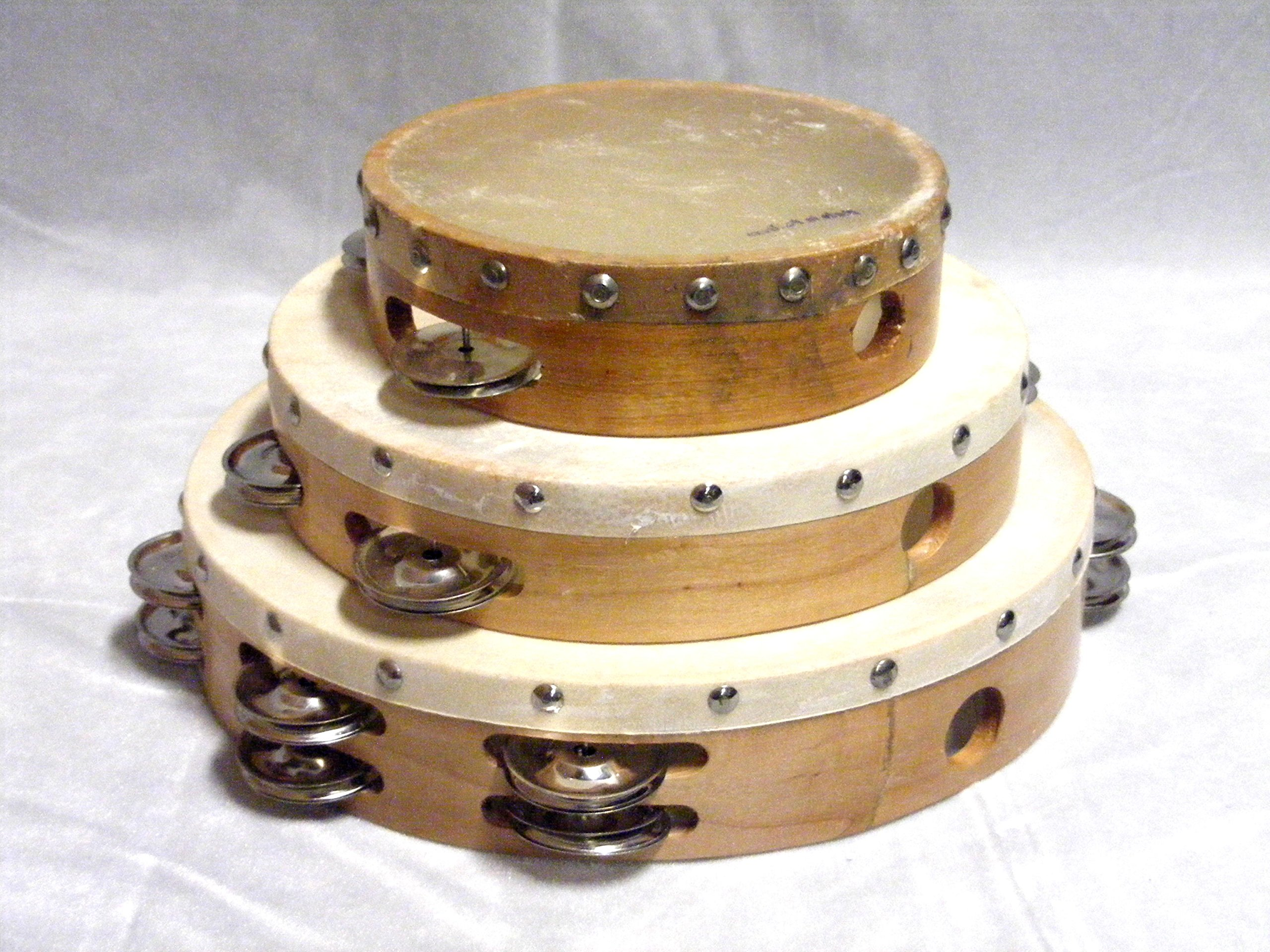 Lot of 3 AP (Authentic Percussion) Hand Made Solid Wood Frame Tambourine w/ Goat Skin Head 6'' 8'' 10''