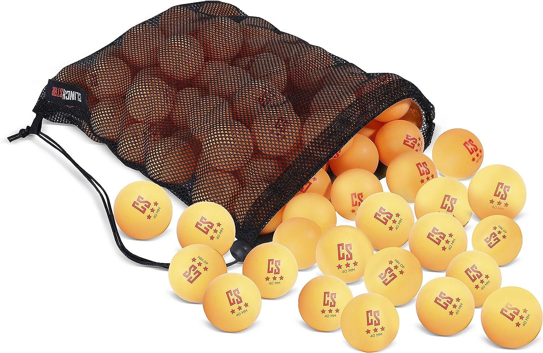 Clinch Star Lot de 50 balles de ping-Pong 3 /étoiles 40 mm avec Sac de Transport en Maille