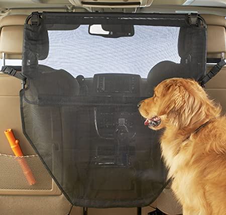 High Road Dog Car Barrier with Full View Mesh Cover and Padded Steel Frame - Best For Durability