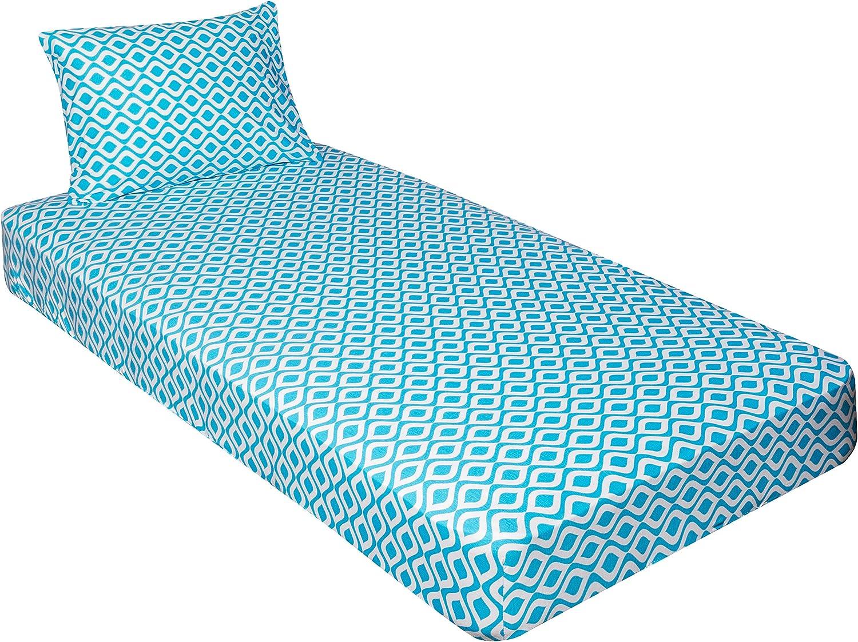 Gilbin Jersey Knit 2 pc. Cot Size Camp Sheet & Pillowcase (Geometric Turquoise)