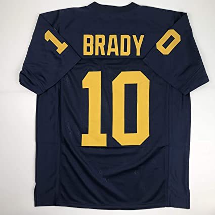 7fa0614a2d9 Amazon.com: Unsigned Tom Brady Michigan Blue Custom Stitched College Football  Jersey Size Men's XL New No Brands/Logos: Sports Collectibles